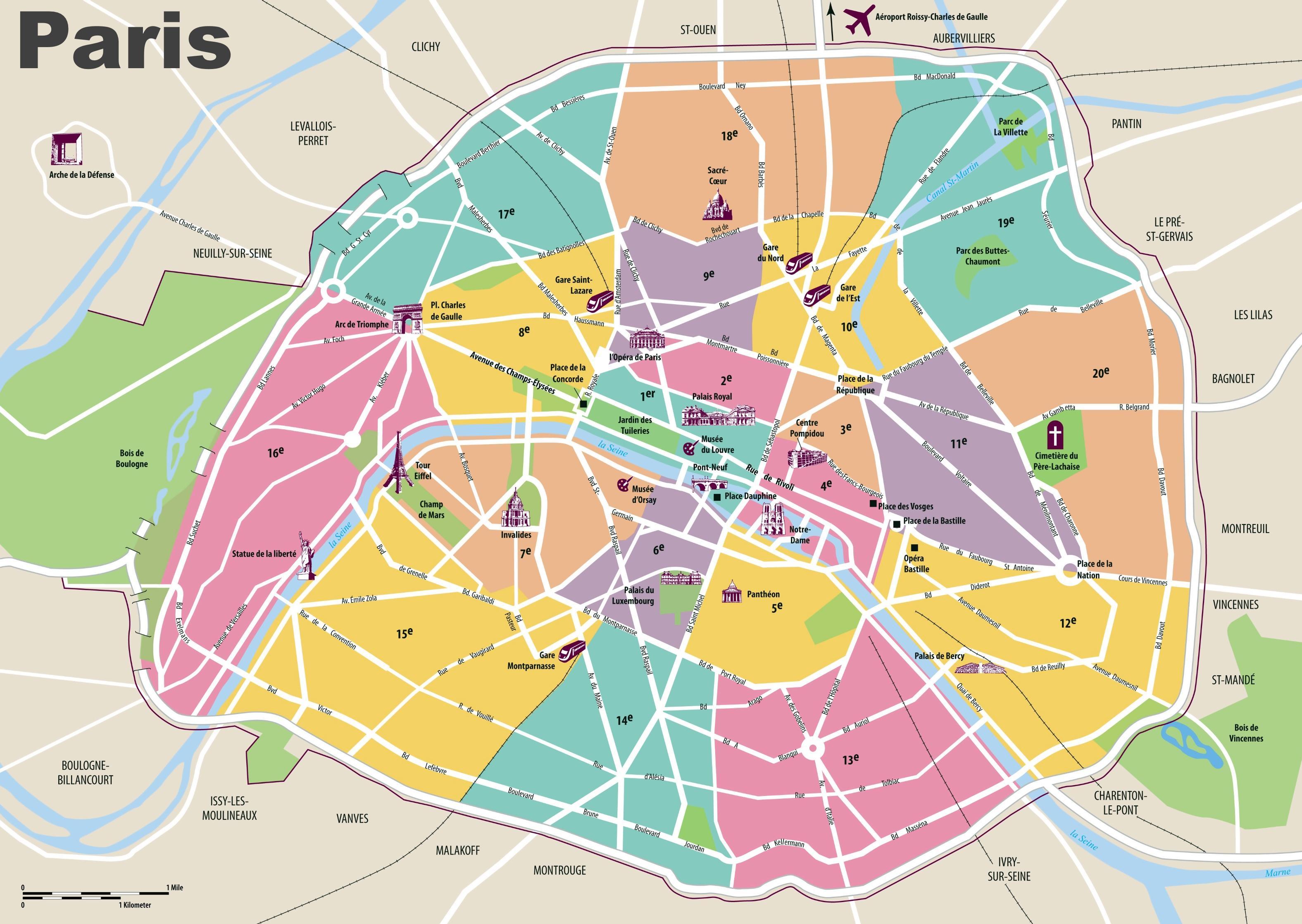 Karte Paris.Karte Von Paris Eine Karte Von Paris île De France Frankreich