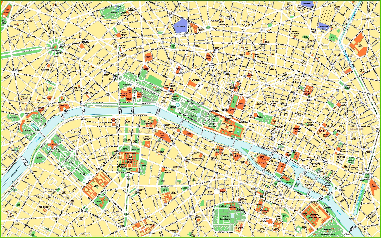 Paris city center map - Stadtplan von Paris die Sehenswürdigkeiten ...