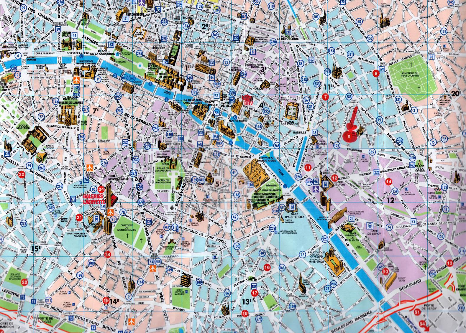 Paris city tourist map - Paris-Stadtplan mit ...