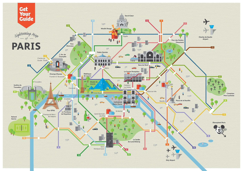 Paris Orte zu besuchen Landkarte - Orte zu besuchen, Paris ...