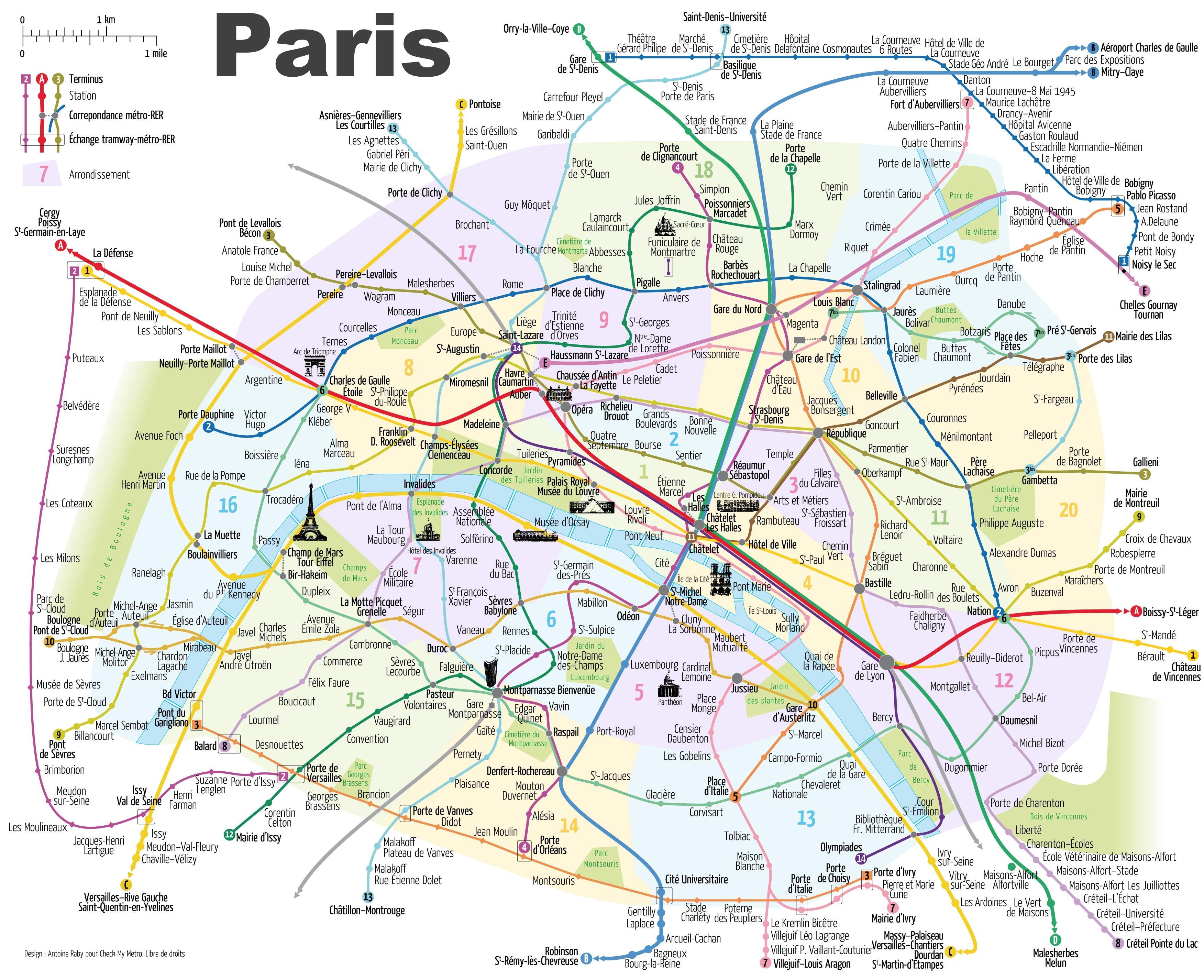 Paris tourist map mit der U-Bahn - Touristen-Karte von Paris ...