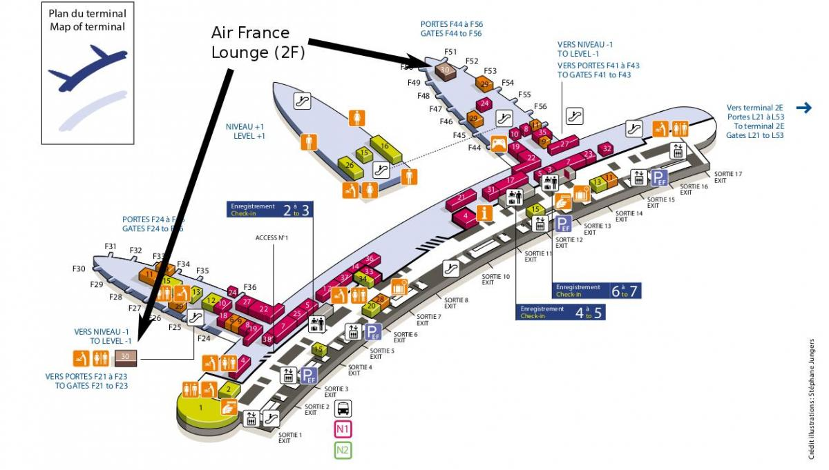 charles de gaulle airport map terminal 2e, 2f