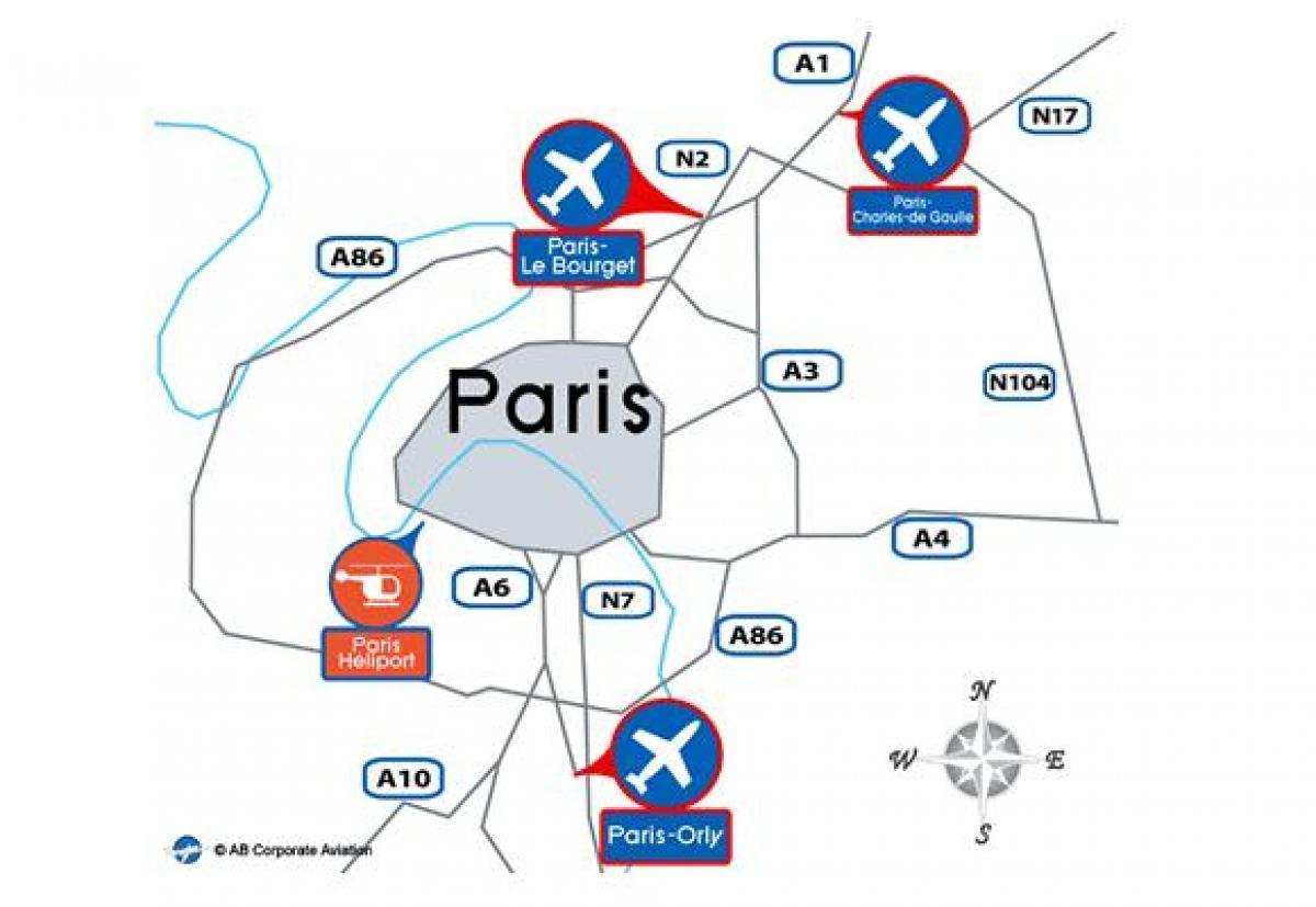 Paris international airport Landkarte