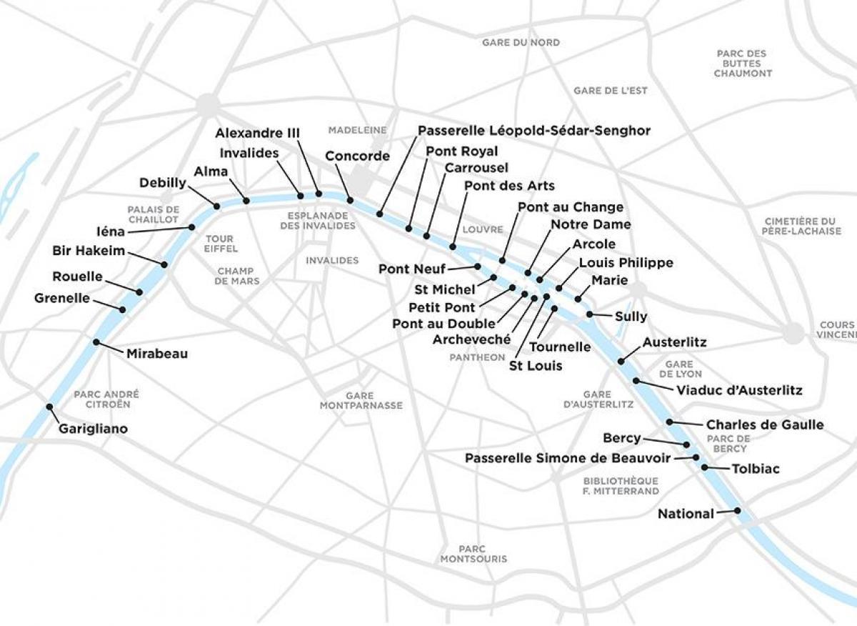 Paris-Brücken-map - Karte von Brücken von Paris (Île-de ...
