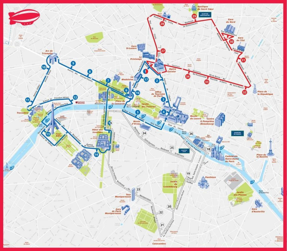 Paris hoho-bus-route-Karte - Paris tourist bus route map ...